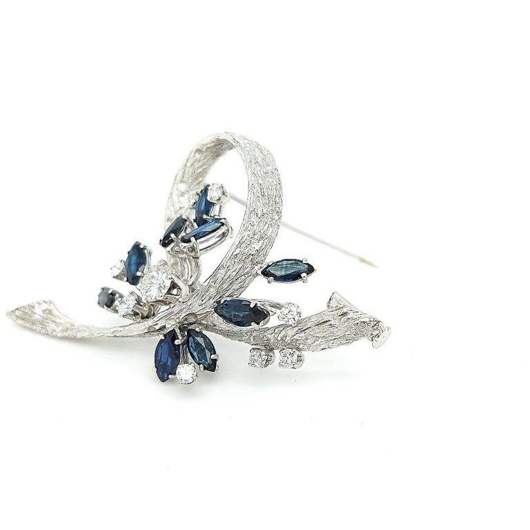 Artisan White Gold Bouquet Brooch with Diamonds and Sapphires For Sale