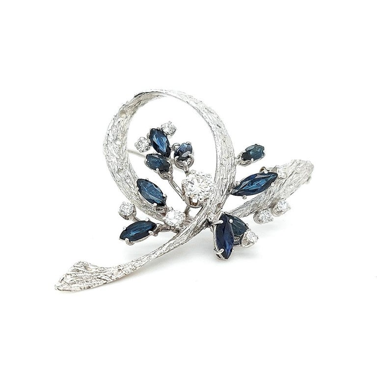 White Gold Bouquet Brooch with Diamonds and Sapphires For Sale 1