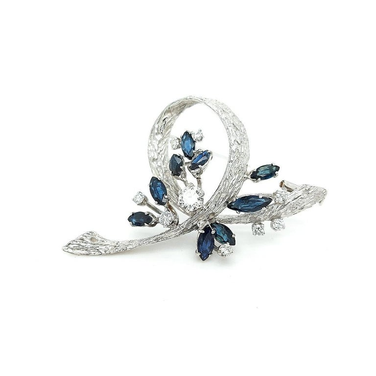 White Gold Bouquet Brooch with Diamonds and Sapphires For Sale 3