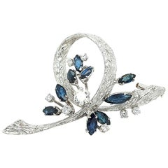 White Gold Bouquet Brooch with Diamonds and Sapphires