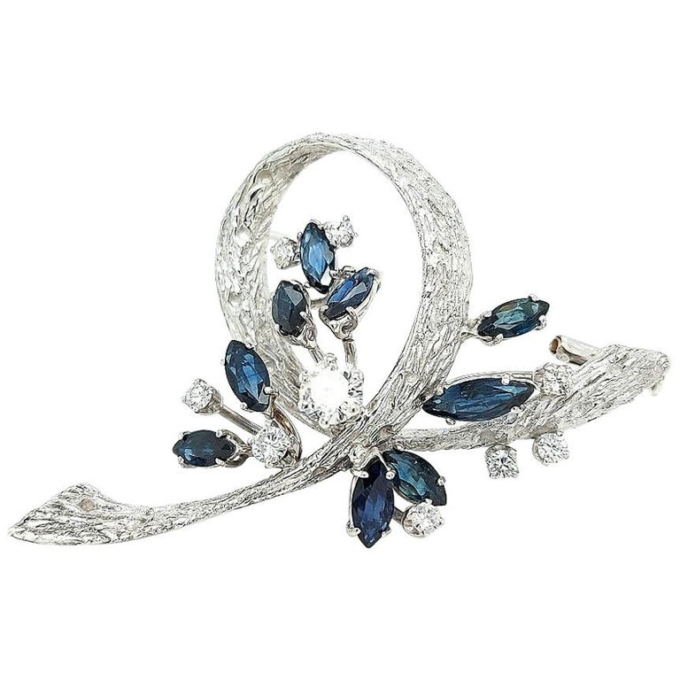 White Gold Bouquet Brooch with Diamonds and Sapphires For Sale