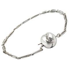 White Gold Bracelet with Retro-Era Watch Chain Links and Diamond Ball Clasp