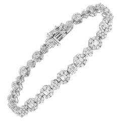 White Gold Brilliant Round-Cut and Baguette Diamond Floral Cluster Link Bracelet