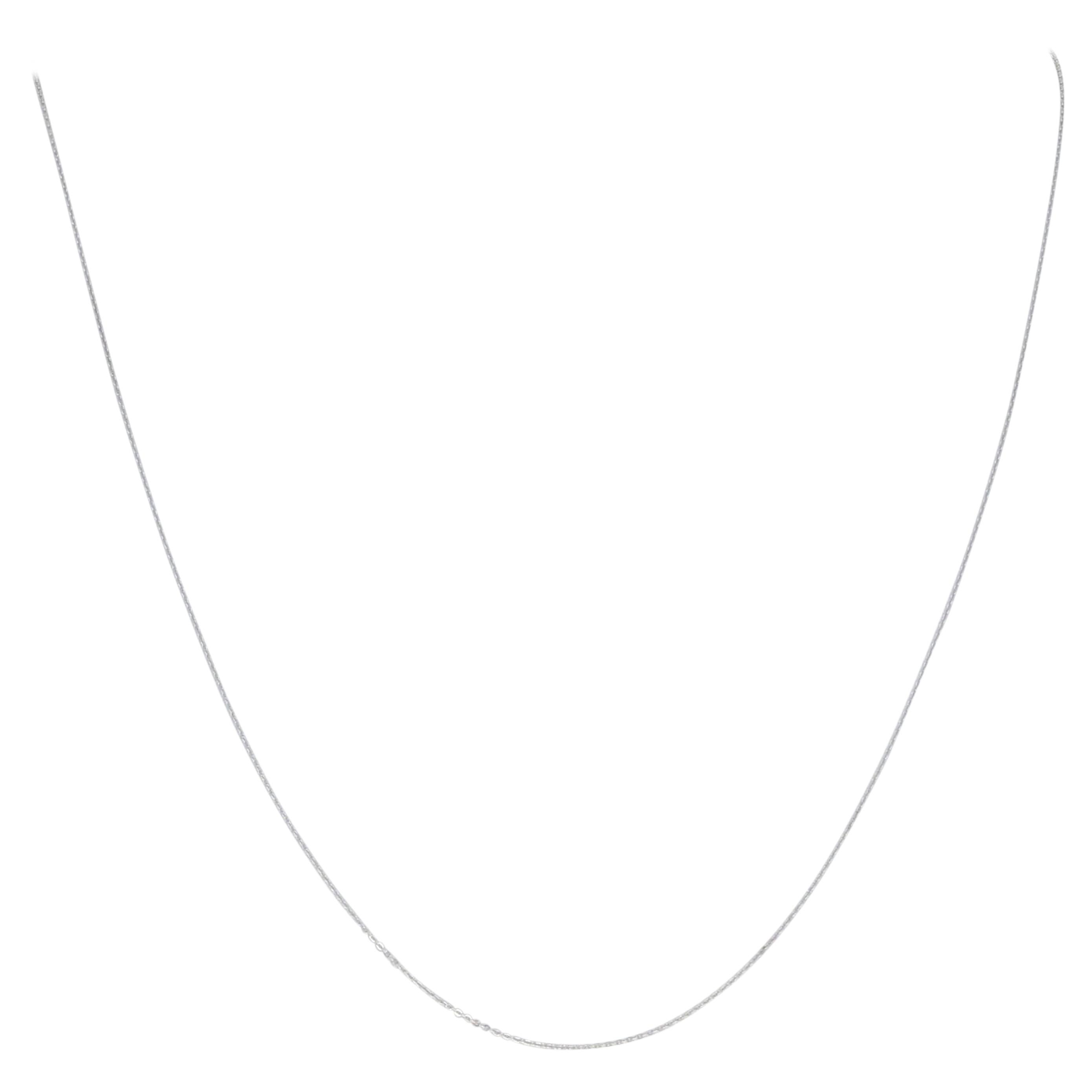White Gold Cable Chain Necklace, 14 Karat Lobster Claw Clasp Adjustable Length