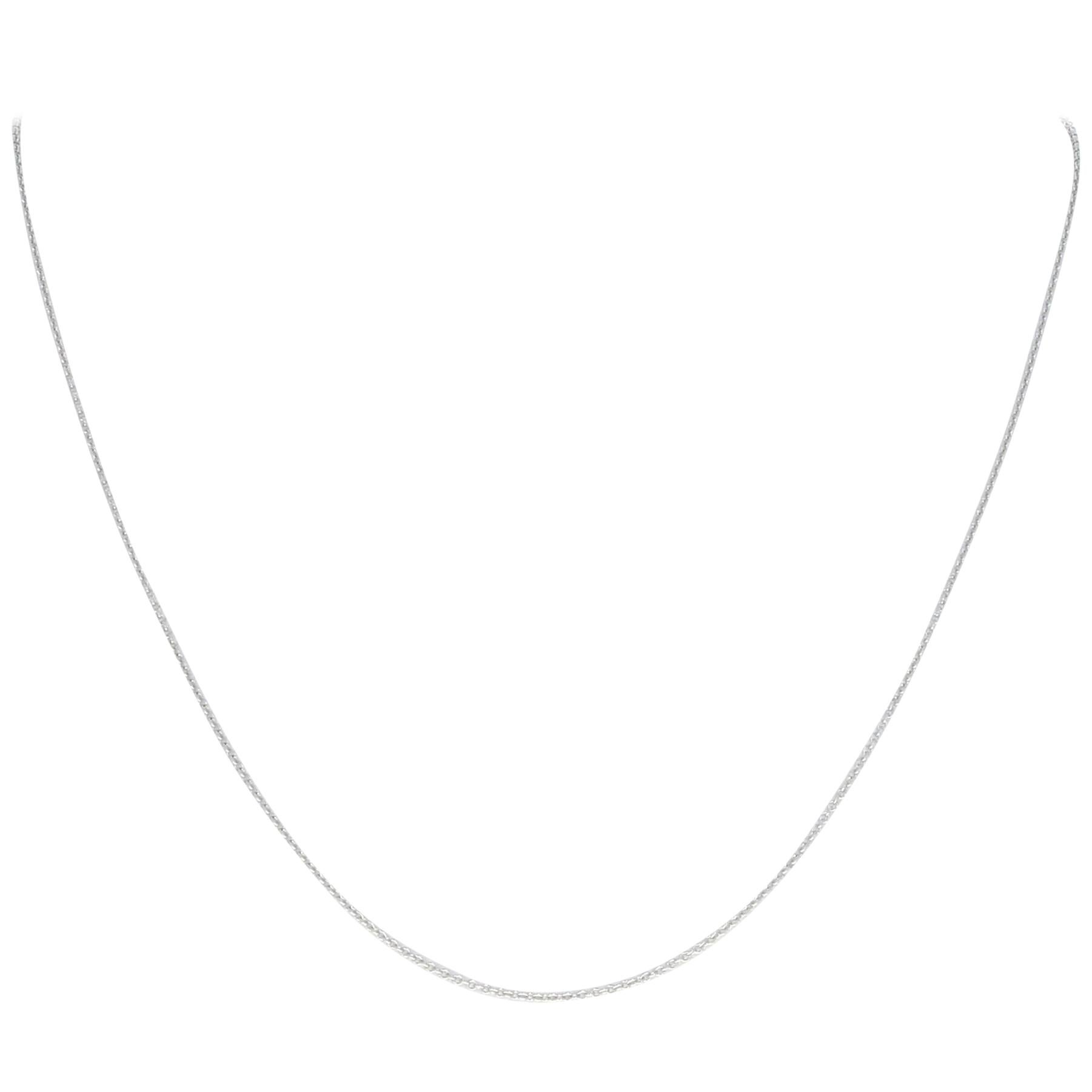 White Gold Cable Chain Necklace, 14 Karat Lobster Claw Clasp, Italy