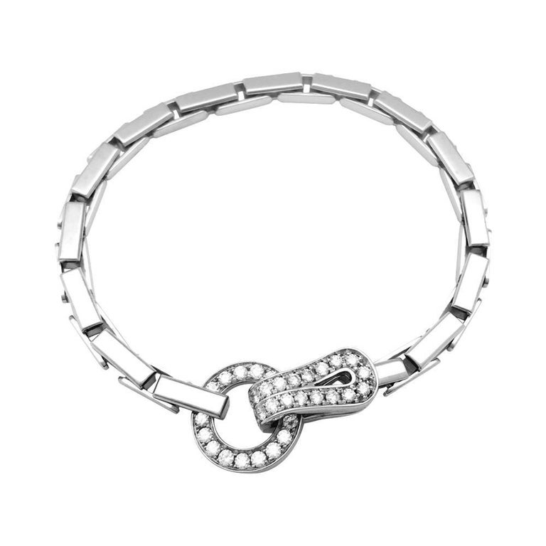 """White Gold Cartier Bracelet """"Agrafe"""" Collection Set with Diamonds"""