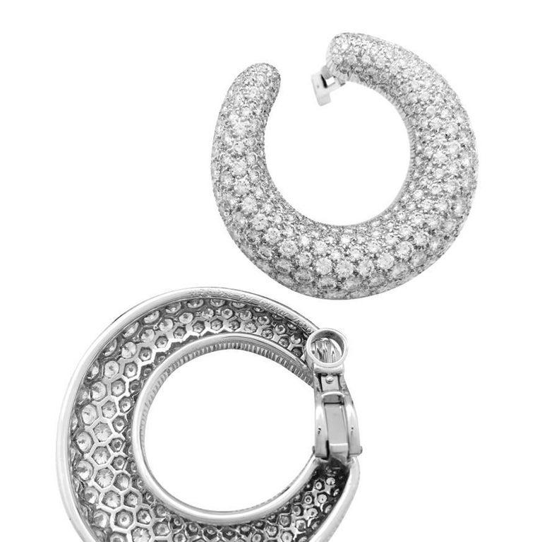 Contemporary Cartier Hoop Earrings Set with a Brilliant-Cut Diamonds Pavé For Sale