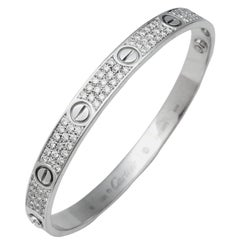 "White Gold Cartier ""Love"" Bracelet, Set with Diamonds"