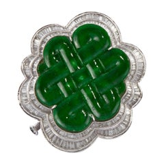 White Gold Carved Jade Diamond Pin/Pendant