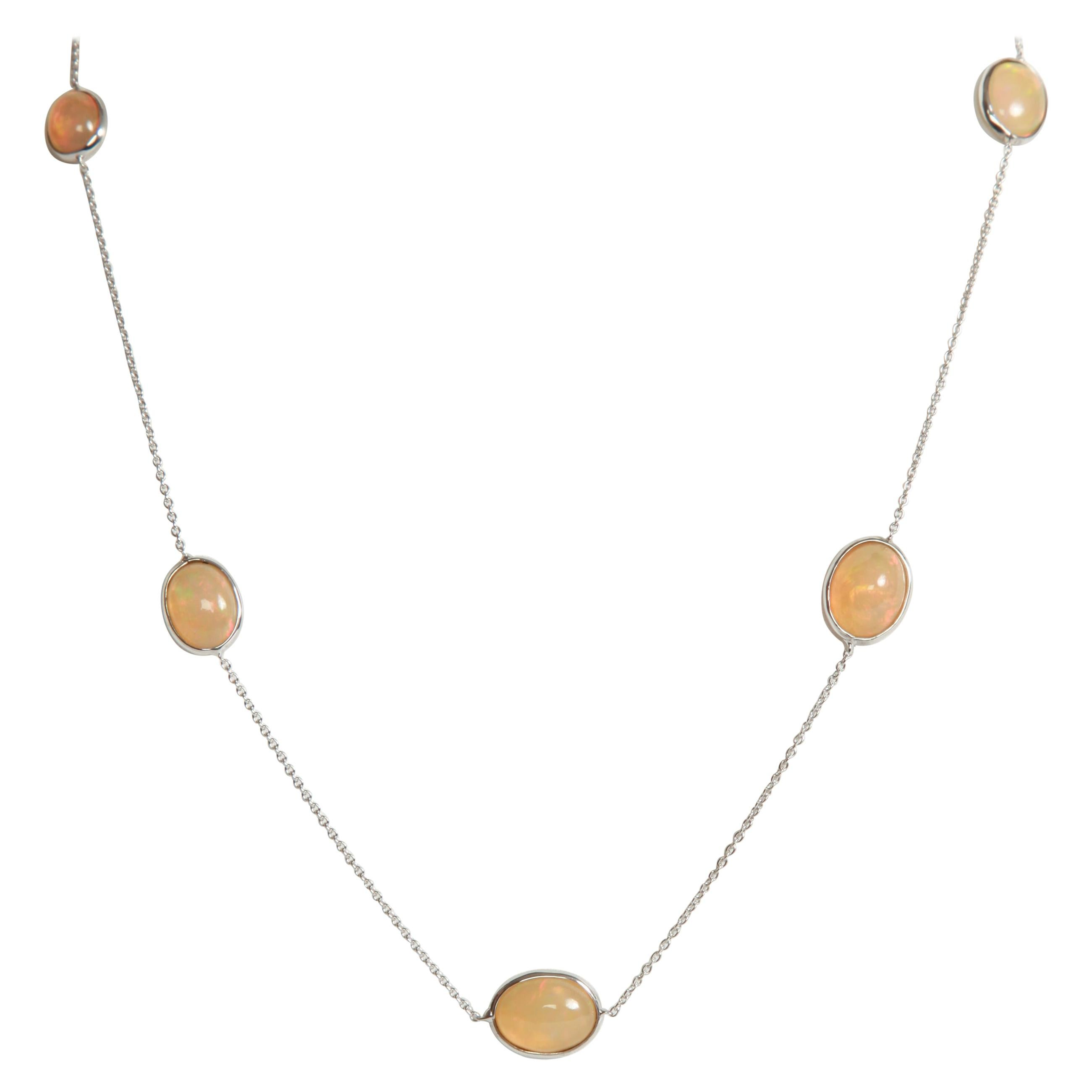 White Gold Chain Necklace Set with Opal Cabochons Created by Marion Jeantet