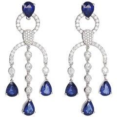 White Gold Chandelier Pear Cut Sapphire Diamond Earrings, 9.45 Carat