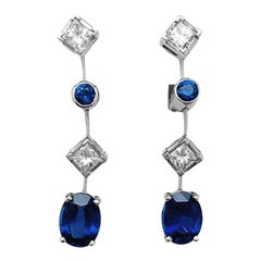 "White Gold Chaumet Sapphires and Diamonds Earrings, ""Clarisse"" Collection"