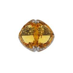 White Gold Citrine Diamond Ring