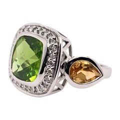 White Gold Cocktail Ring .20ct Natural Diamond, Cushion, Peridot & Citrine Ring
