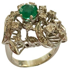 White Gold Cocktail Ring, Emerald and Diamonds, Germany, 1960