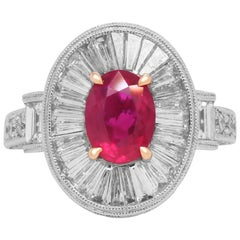 White Gold Cocktail Ring with Baguette and Round Diamonds and Ruby Center