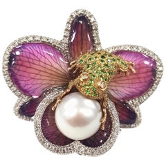 White Gold Cocktail Ring with Orchid and Frog