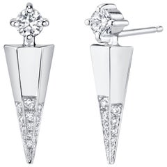 White Gold Contemporary Earrings with White Diamonds