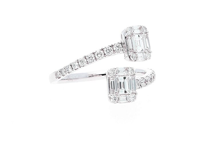 White Gold Contrarie Ring with Baguette Cut Diamonds For Sale 5