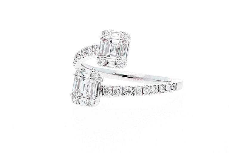 White Gold Contrarie Ring with Baguette Cut Diamonds For Sale 6