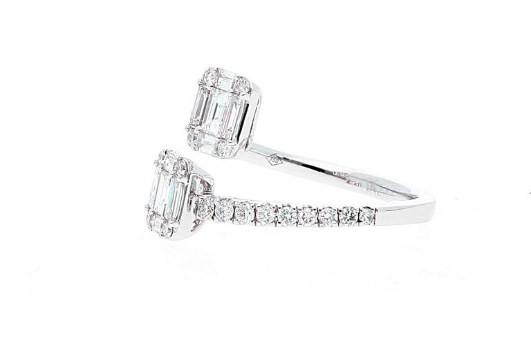 White Gold Contrarie Ring with Baguette Cut Diamonds For Sale 7