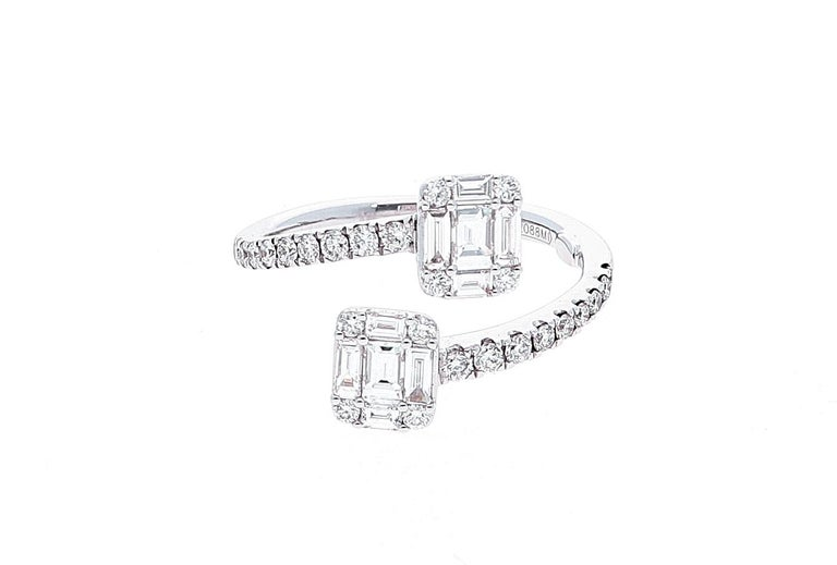 White Gold Contrarie Ring with Baguette Cut Diamonds For Sale 8