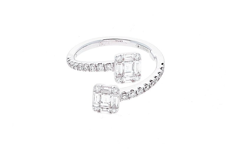 White Gold Contrarie Ring with Baguette Cut Diamonds For Sale 9