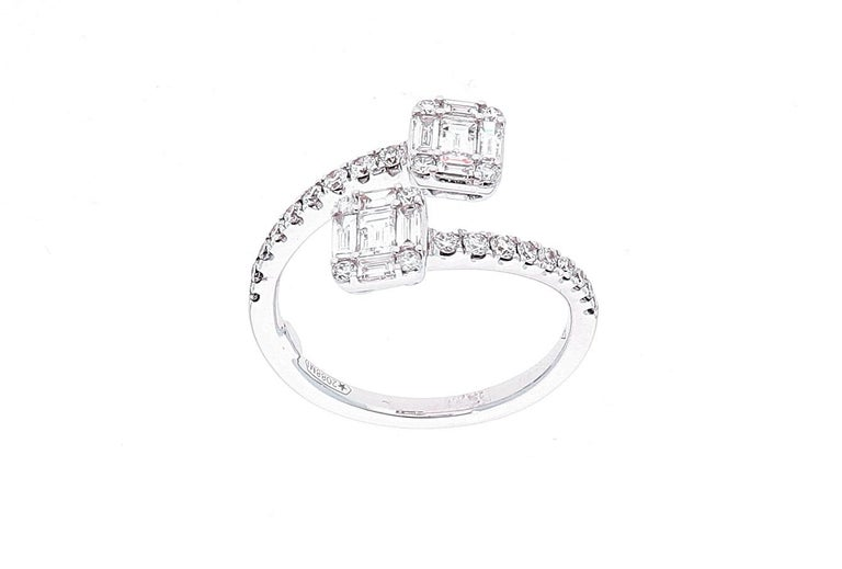 White Gold Contrarie Ring with Baguette Cut Diamonds For Sale 10