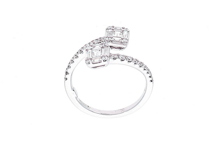 White Gold Contrarie Ring with Baguette Cut Diamonds For Sale 11