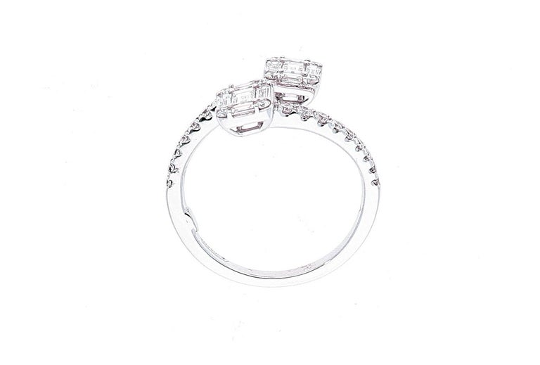 White Gold Contrarie Ring with Baguette Cut Diamonds For Sale 12