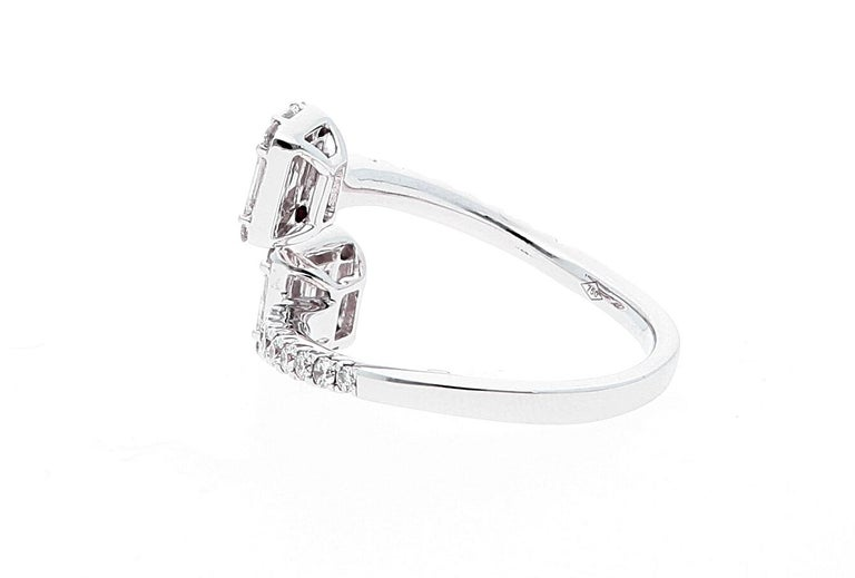 Modern White Gold Contrarie Ring with Baguette Cut Diamonds For Sale