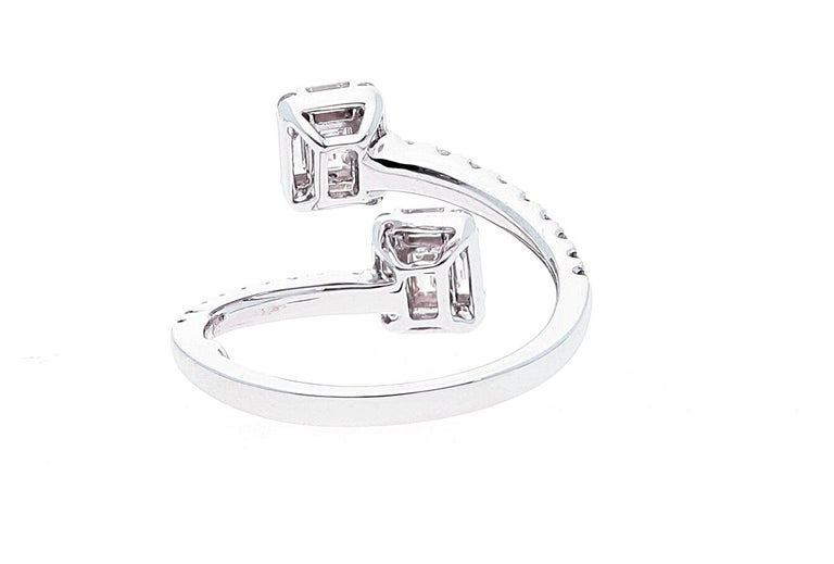 Women's White Gold Contrarie Ring with Baguette Cut Diamonds For Sale