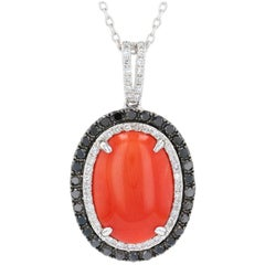 White Gold Coral and Diamond Halo Pendant Necklace, 14 Karat Cabochon .62 Carat