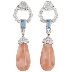 White Gold Coral, Diamond and Topaz Drop Earrings
