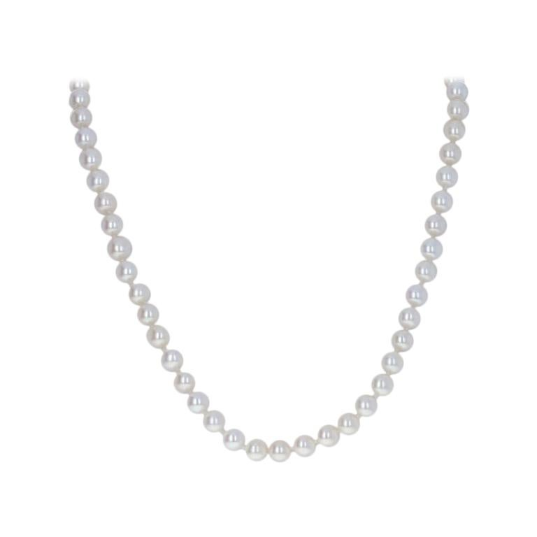 White Gold Cultured Freshwater Pearl and Diamond Necklace 14 Karat Knotted