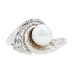 White Gold Cultured Pearl & Diamond Wave Bypass Ring - 14k Crosshatch