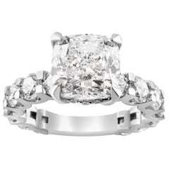 White Gold Cushion Cut Diamond Ring with Side Stones, 5.83 Carat