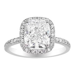 White Gold Cushion Cut Ring Set with Side Diamonds, 3.51 Carat