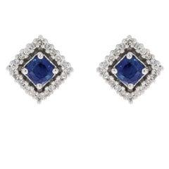 White Gold Cushion Cut Sapphire and Diamond Halo Stud Earrings