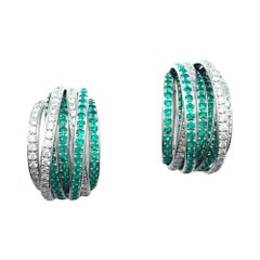 White Gold De Grisogono Earrings, Allegra Collection, Emeralds and Diamonds