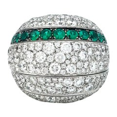 "White Gold De Grisogono ""Jiya"" Ring, Diamonds and Emeralds"