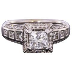 White Gold Deco Style Princess Diamond Halo Engagement Ring