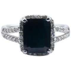 White Gold Deep Blue Sapphire and Diamond Ring