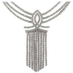 White Gold Diamond 8.50 Carat Waterfall Chandelier Necklace