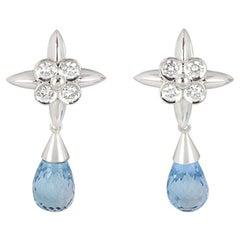White Gold Diamond and Blue Topaz Drop Earrings