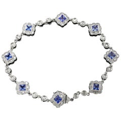 Hammerman Brothers White Gold Diamond and Ceylon Sapphire Bracelet