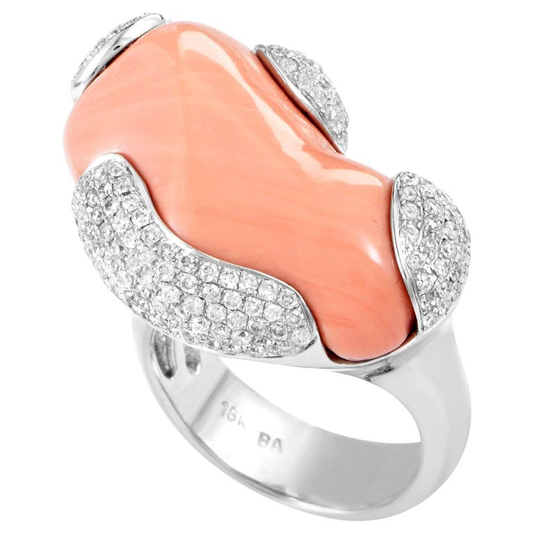 White Gold Diamond and Coral Ring