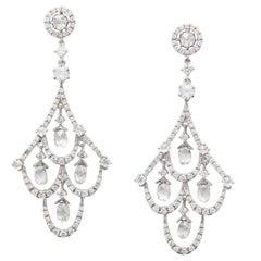 White Gold, Diamond and Diamond Briolette Chandelier Earrings