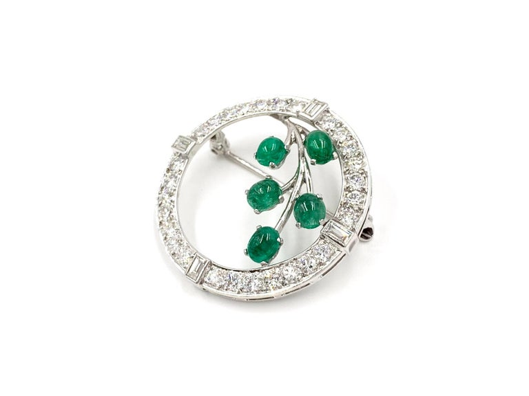 Retro White Gold Diamond and Emerald Garland Style Brooch For Sale