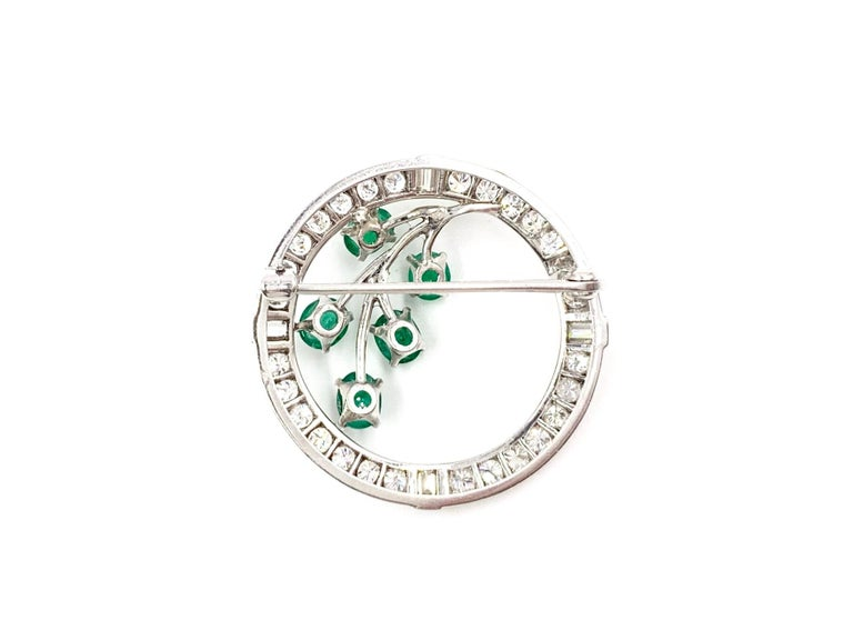 White Gold Diamond and Emerald Garland Style Brooch In Good Condition For Sale In Pikesville, MD